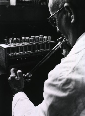 A techician mouth-pipetitng environmental water samples in Malta. Image: E Mandelmann. Source: History of Medicine