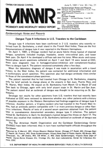 The front page of the MMWR's June 5, 1981 report that included the first report on what would later be discovered to be AIDS.