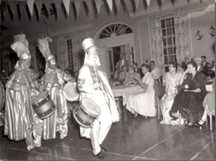 Mardi Gras celebrated at the Carville in 1957. Click for source.