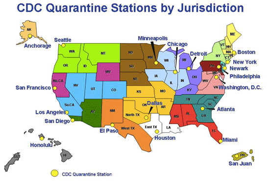 A map of the U.S. Quarantine Stations. Staffed with quarantine medical and public health officers from CDC, they're located at 20 ports of entry and land-border crossings where international travelers arrive. Image: CDC. Click for source.